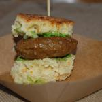 Lamb Slider with Zucchini Pesto and Cucumber Relish Ocean House Watch Hill, RI Chef Adam Brioche